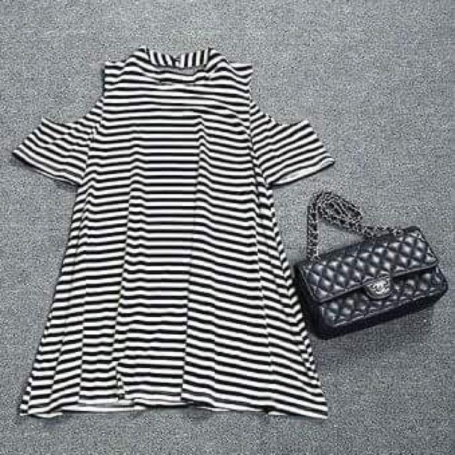 Stripes Cutout Shoulder Shirt Dress