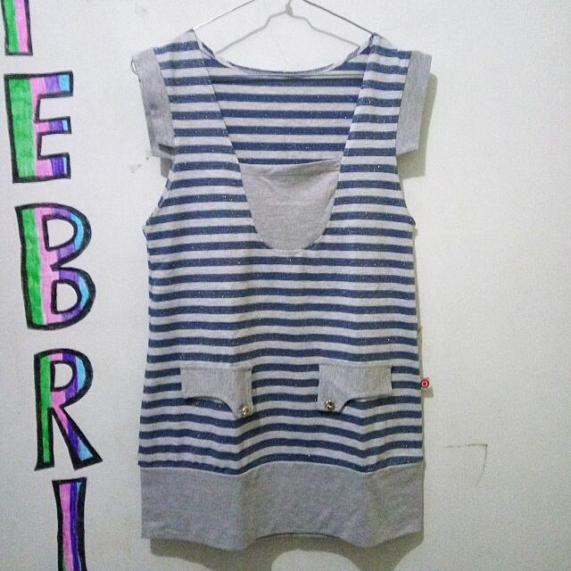 Strips Women Top With Glitter