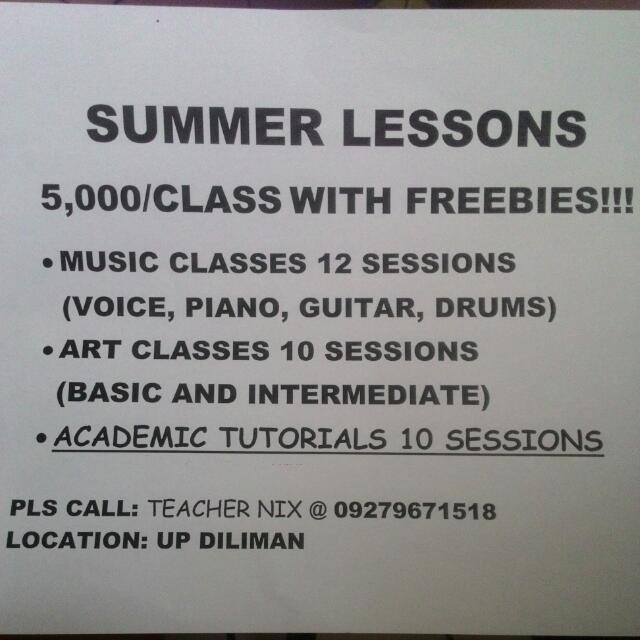 Summer Lessons PIANO GUITAR VOICE DRUMS and ART