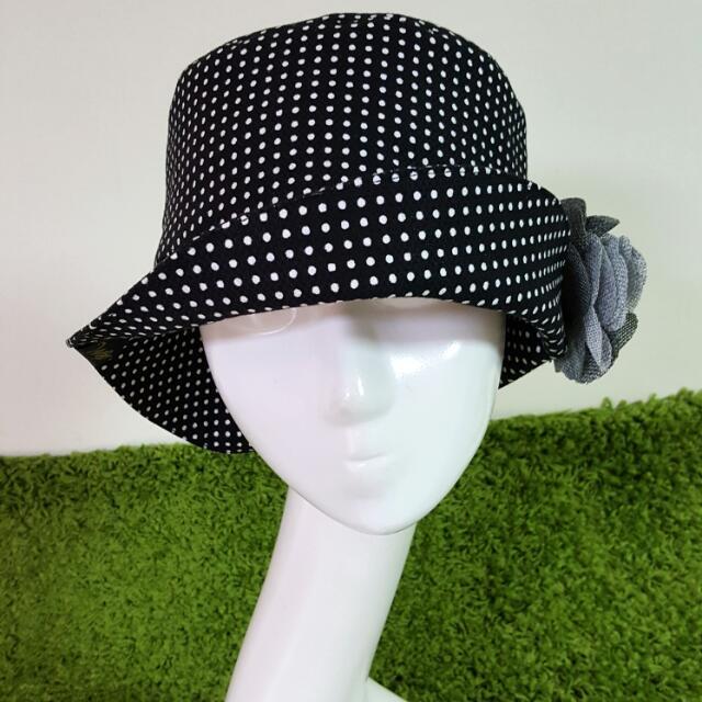 TM.s手作帽 點點控棉質挺布帽沿造型仕女帽 頭圍57-58