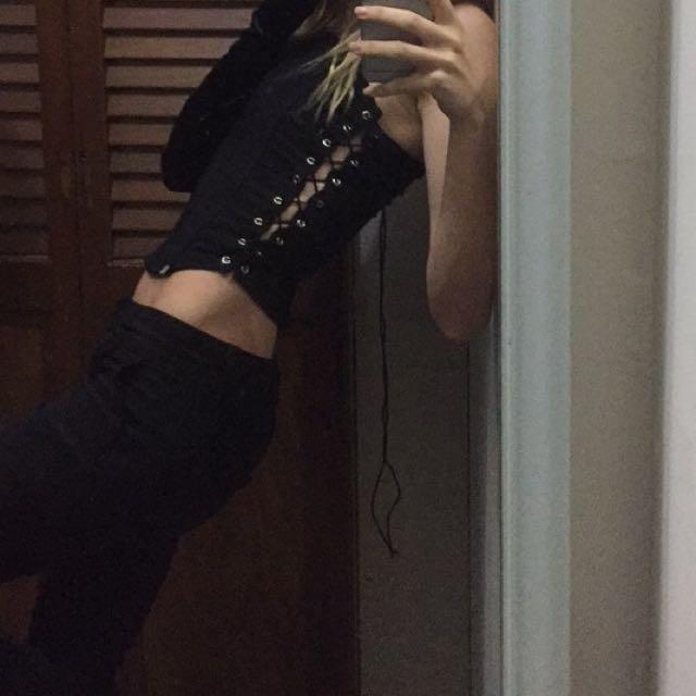 Vintage lace up corset