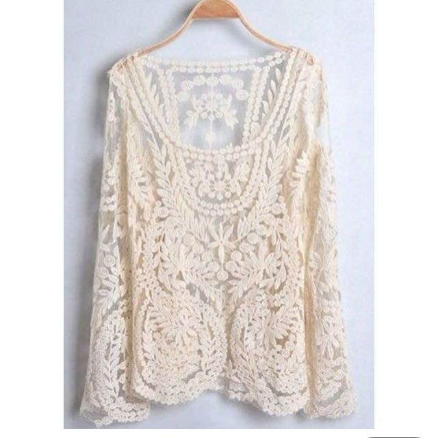 White Lace Crochet Long Sleeves