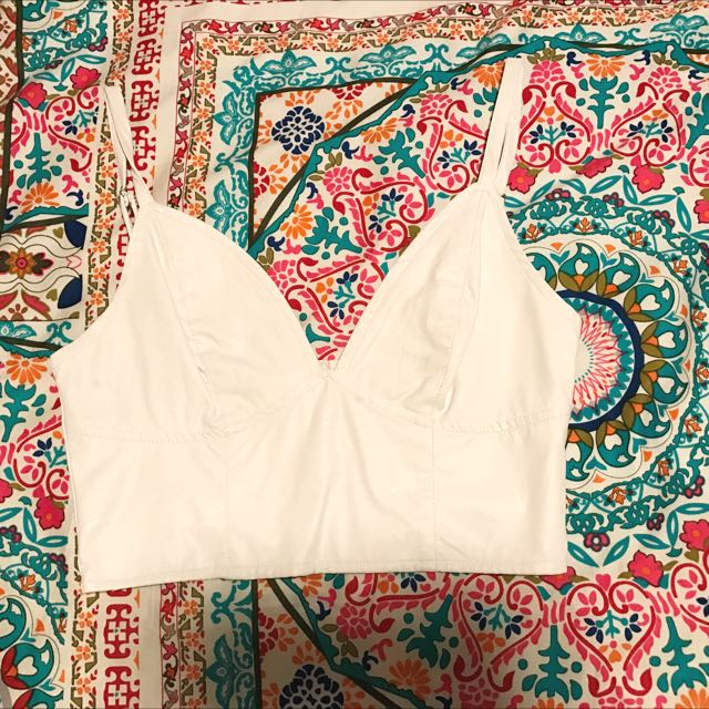 White Leather Crop Top