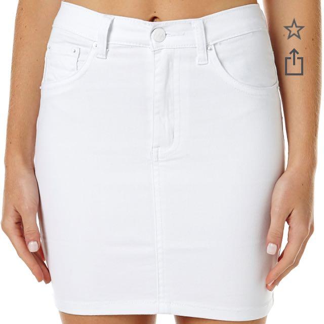 """White """"Meet My Mum"""" Ziggy Denim Skirt"""