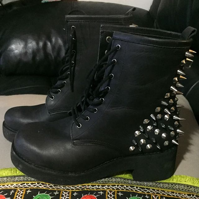 Windsor Smith Leather Black Studded Doc Martin Style Boots