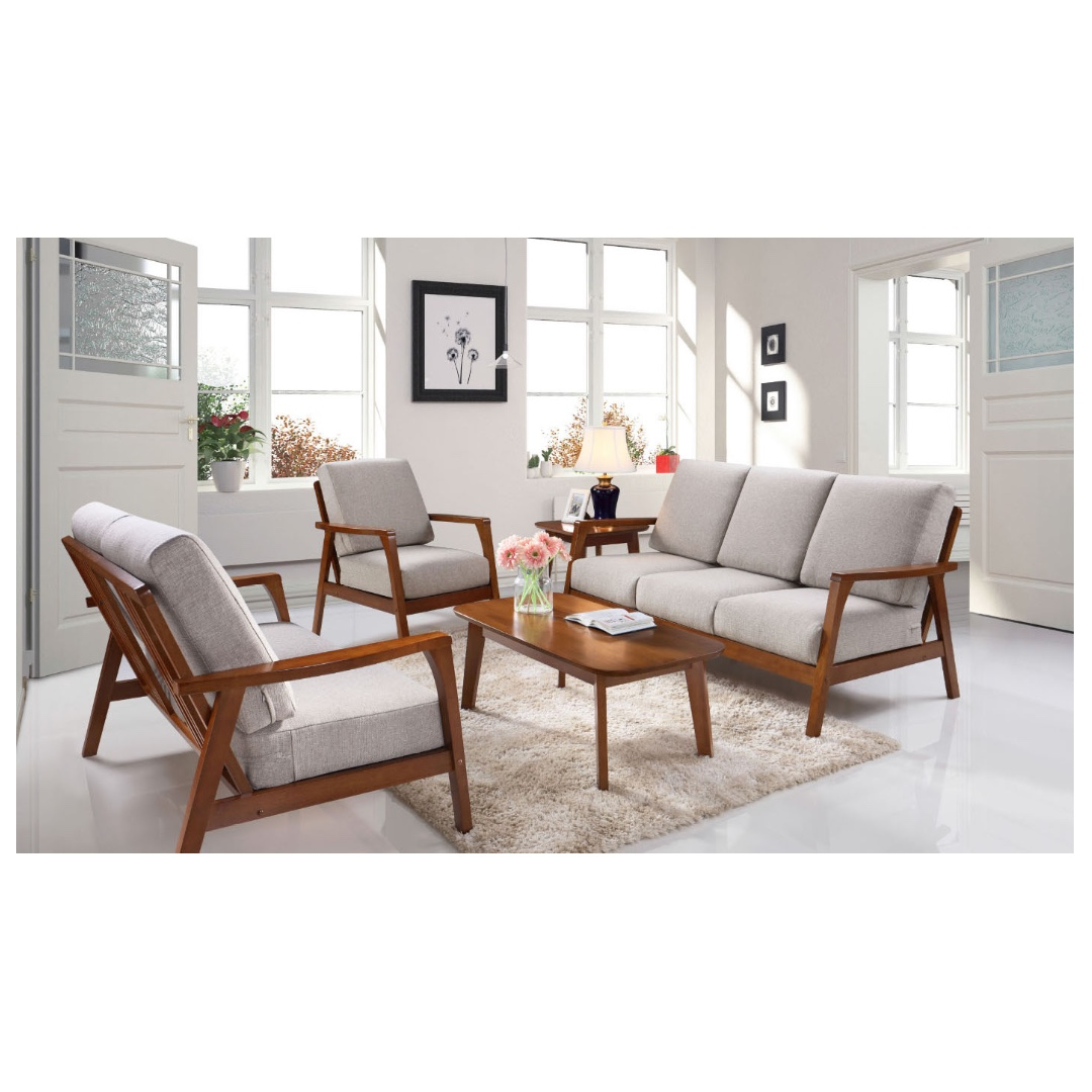 Wooden Sofa Set With Fabric Covers Da338