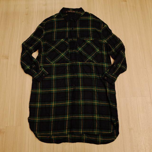 Zara購入 長版格紋襯衫