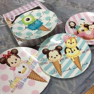 香港迪士尼tsum tsum四入塑膠點心盤組