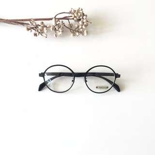 正韓A LAND品牌圓框復古眼鏡 黑框 2色(全黑/木紋質感)