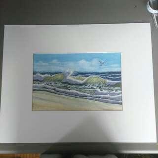 Crushing Waves Watercolour Painting