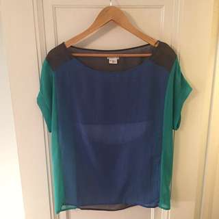 Sheer Block Colour Blouse With Back Cutout