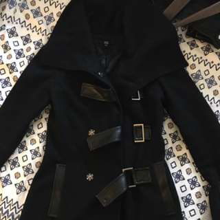 Bedo Black Peacoat With Leather Detailing