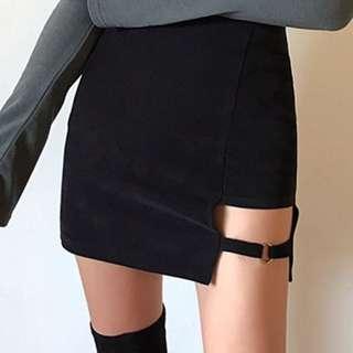 【黑店】韓系潮流 暗黑風 個性性格鏤空包臀短裙