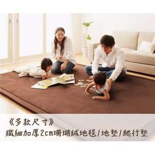 《多款尺寸》纖細2cm加厚珊瑚絨吸水止滑地毯/地墊/爬行墊