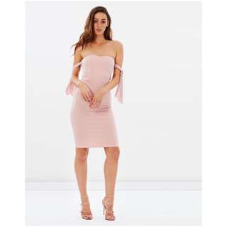 Off Shoulder Peach Pink Bodycon Dress