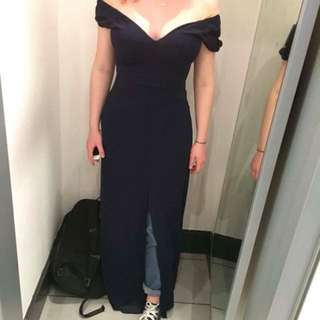 le château navy prom full length dress