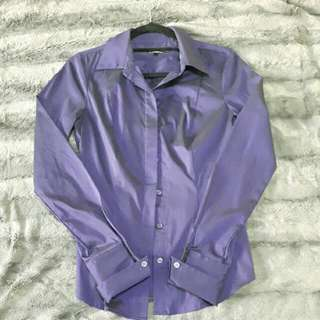 Fitted Purple Collar Shirt