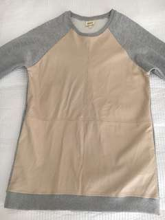 ZULU & ZEPHYR Dress Cotton Camel Grey Leather Mini Sweater 8