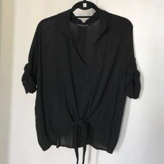 Brandy Melville Black Collared Top