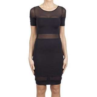 KOOKAI Black Dress Mesh Bodycon Party cocktail mini stretch