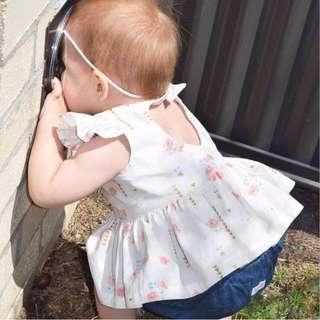 嬰幼兒 小花朵飛袖連身裙 (不含褲)