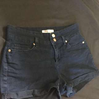 Highrise,dark wash,shorts