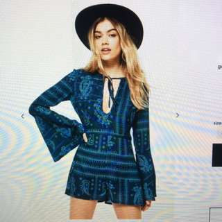 Blue Flared Sleeve Playsuit