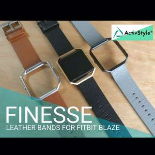 Give your #Fitbit Blaze that fresh and classy look with these Finesse genuine leather bands.  Price: 700 PHP (strap only)  1100 PHP (strap and frame set)