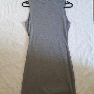 Grey sleeveless turtle neck dress