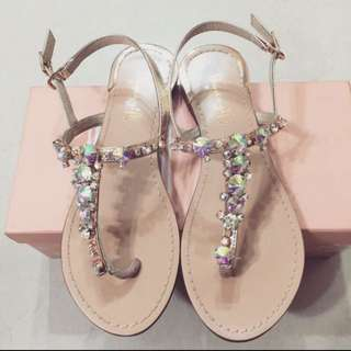 Gracegift T字水鑽寶石涼鞋