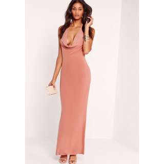 Slinky Pink Cowl Halter Neck Maxi Dress