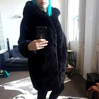 Monki Faux Fur Jacket With Hood XS