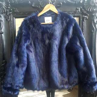 Blue Faux Fur Jacket Size L