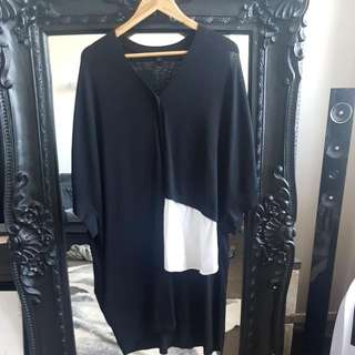 Cos Sweater Size M. BLACK With White Shirt Detail