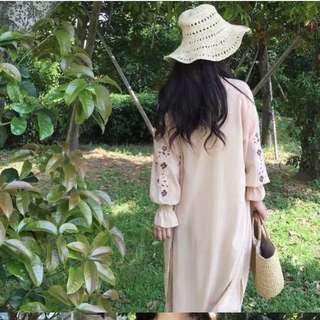 Chic韓版超美氣質雪紡長罩衫外套電繡玫瑰花雪紡防曬