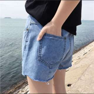 韓版角度切割隨性風刷色顯瘦百搭牛仔短褲