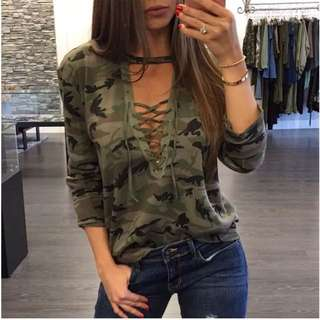 Pre-Order Lace Up Camouflage Shirt