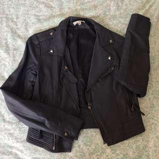 TEMT Dark Purple Leather Jacket