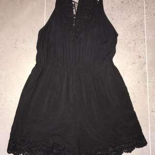 Bardot Black Lace Playsuit Size 12