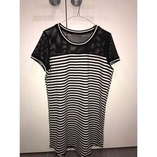 Ally Black And White Striped Mesh Dress- Size Medium