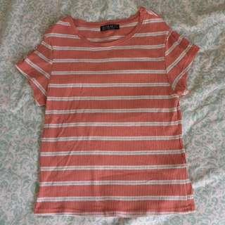 💥PRICEDROP💥Beige-Orange Striped Shirt