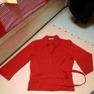 Marks & Spencer V領兩片式紅襯衫