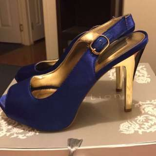 Cobalt Blue And Gold Heels