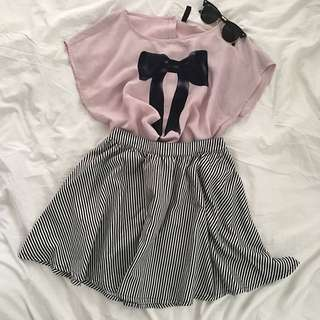 H&M Ribbon Printed Blouse X Forever21 Striped Circle Skirt