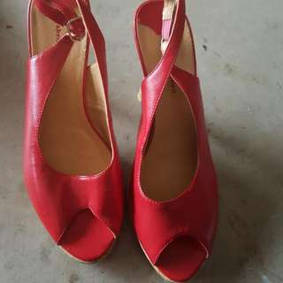 Worn Twice Red Wedges Heels Size 6