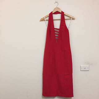 Red Halter Midi Cage Front Dress