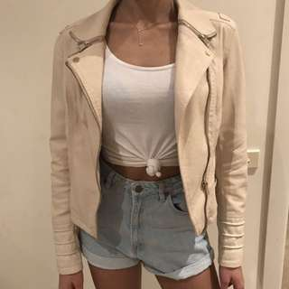 River Island Vegan Leather Biker Jacket Nude
