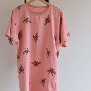 Oversized Pink Bee Print T-Shirt