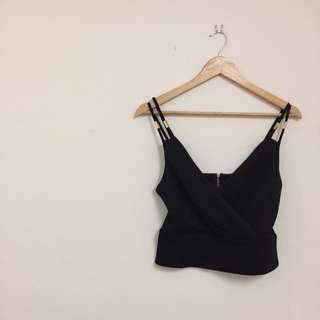Black Cross Over Strappy Crop
