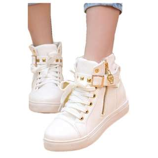 Zipper Buckle Rivet Sneakers Sports Boots Shoes White